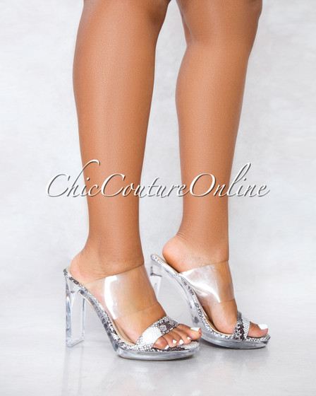 Charlee Snake Sole Double Upper Open Clear Toe Heels