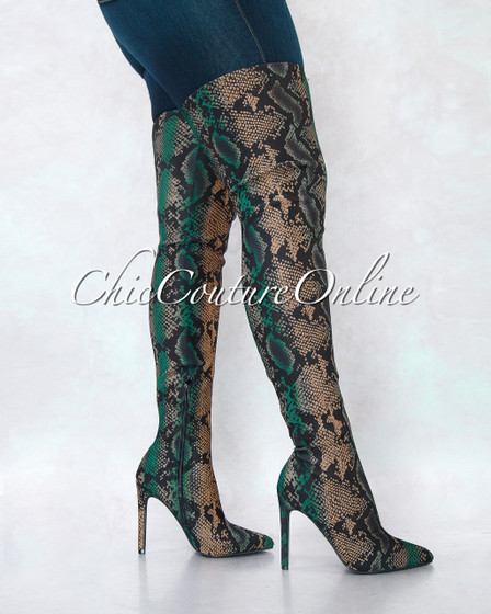 Tillie Black Nude Green Snake Print Over-The-Knee Boots