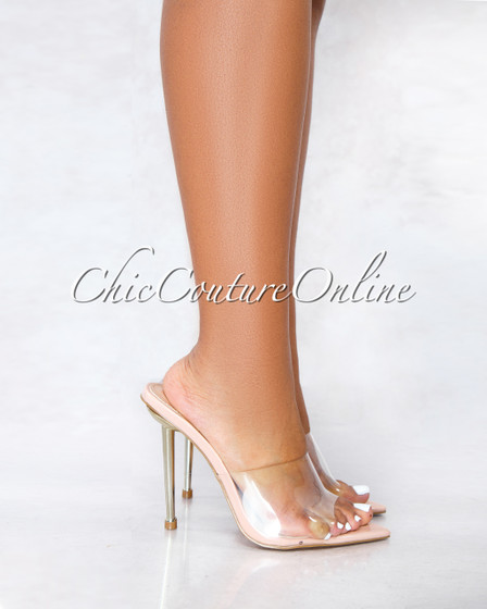 Addy Nude Sole Clear Upper Strap Pointed Toe Gold Heel
