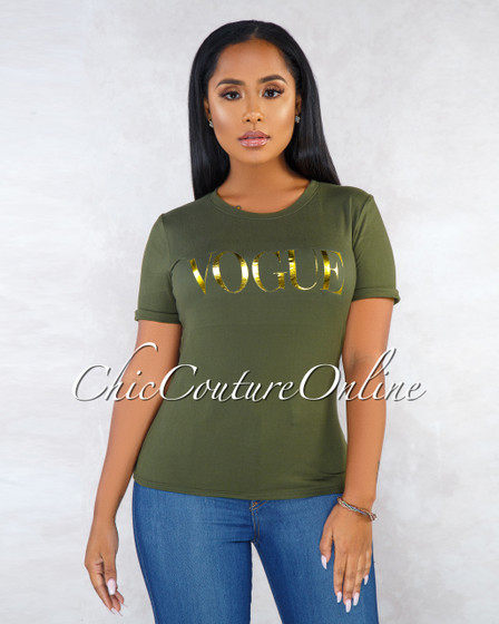 Helen Olive Green Gold Graphic T-Shirt