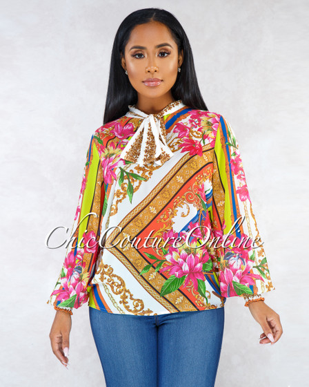 Wilshire Multi-Color Print Long Sleeves Neck Tie Blouse