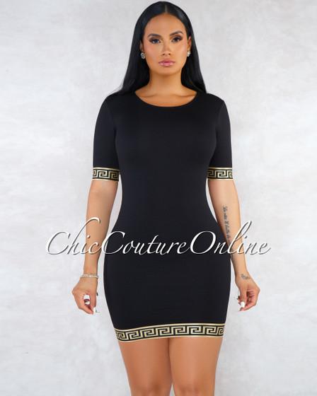 Valessa Black Gold Fret Print Details Body-Con Dress