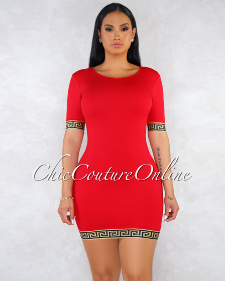 Valessa Red Black Gold Fret Print Details Body-Con Dress