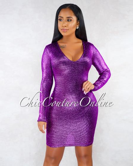Valeska Purple Metallic Long Sleeves Mini Dress