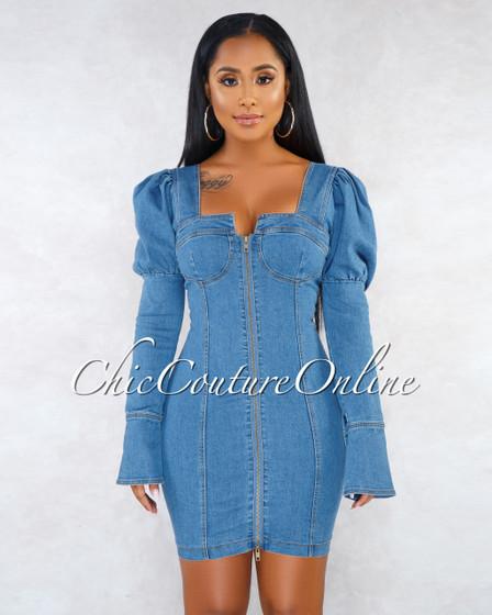 Valeria Puffy Sleeves Front Zipper Denim Mini Dress