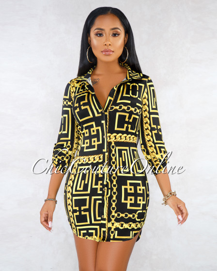 Vachel Black Gold Chain Print Front Buttons Shirt Dress
