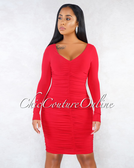 Tully Red Ruched Long Sleeve Dress