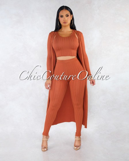 Trixia Rust Crop Top Duster Pants Three Piece Ribbed Set