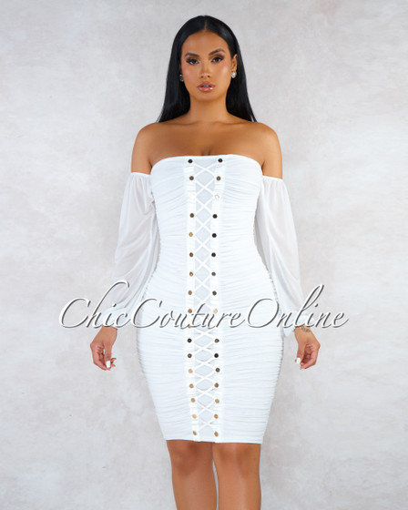 Treva Off-White Ruched Mesh Gold Buttons Lace-Up Dress
