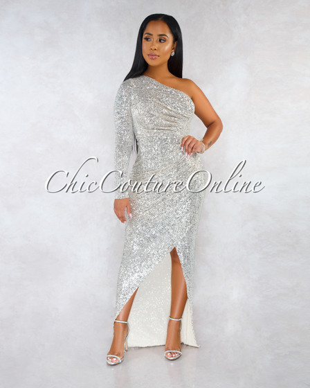 Tahari Nude Silver Sequins Single Sleeve Front Slit Gown