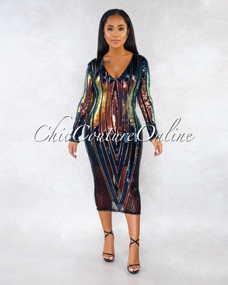 Tovey Black Mesh Iridescent Sequins Long Sleeves Dress