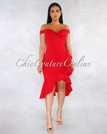 Tovar Red Off-The Shoulders Hi-Low Ruffle Dress