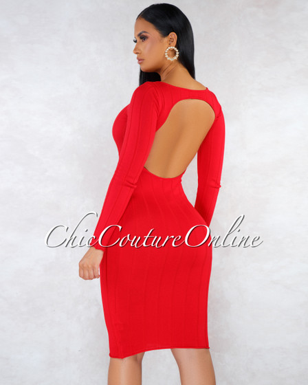 Tonya Red Long Sleeves Back Key-Hole Midi Dress