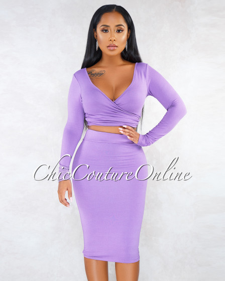 Tilla Purple Wrap Self-Tie Top Pencil Skirt Set