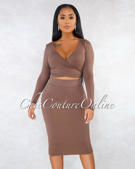 Tilla Brown Wrap Self-Tie Top Pencil Skirt Set