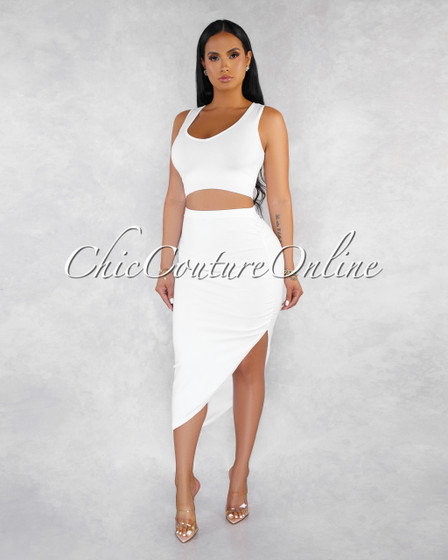 Tonic White Knit V-Neck Crop Top Asymmetrical Skirt Set