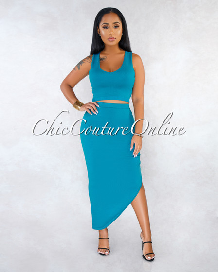 Tonic Teal Knit V-Neck Crop Top Asymmetrical Skirt Set
