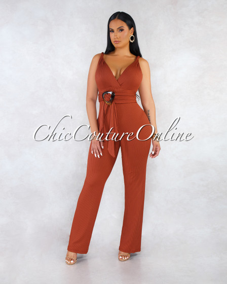 Thania Rust Halter Brown Plastic Self-Tie Belt Jumpsuit