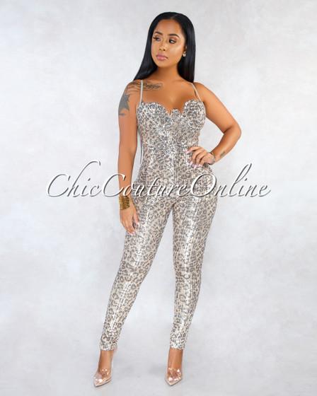 Terez Leopard Print Silver Sequins Padded Cups Jumpsuit