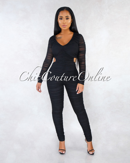 Sherman Black Mesh Ruched Back Key-Hole Jumpsuit