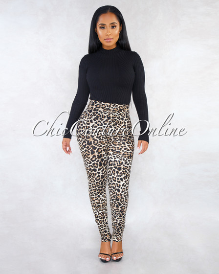 Simona Leopard Print High Waist Leggings