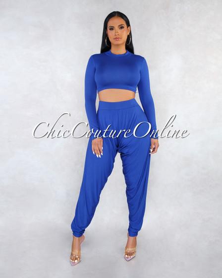Malta Royal Blue Top Wide Legs Pants Two Piece Set