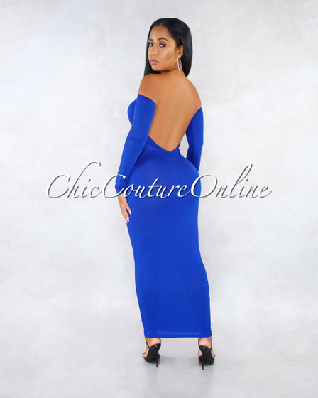 Madrina Royal Blue Long Sleeves Low Back Midi Dress