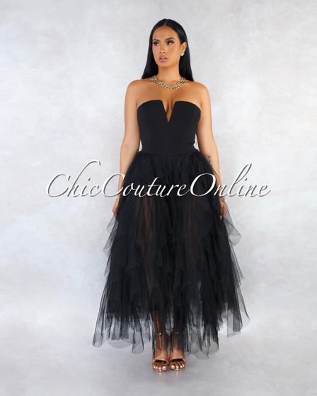 Odalys Strapless Tulle Ruffle Skirt Bodysuit Dress