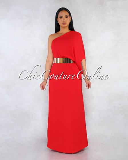 Russie Red Top Overlay Maxi Dress