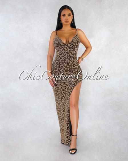 Portofino Black Gold Leopard Print Open Back Maxi Dress
