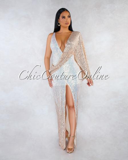 Sarafina Nude Iridescent Sequins Single Wide Sleeve Dress
