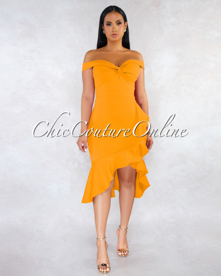 Tovar Mustard Yellow Off-The Shoulders Ruffle Dress