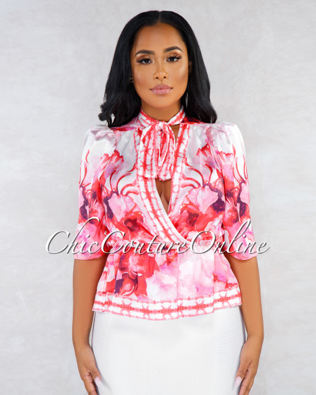 Spears White Pink Red Floral Print Puffy Sleeves Neck Tie Blouse
