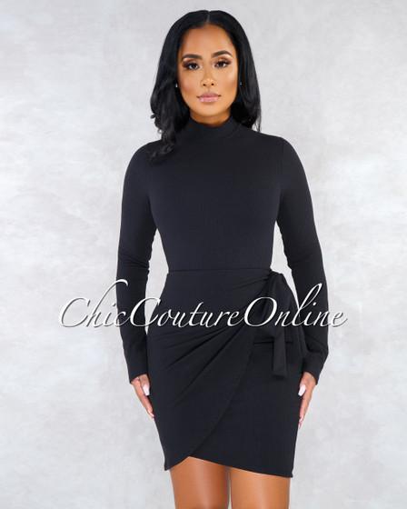Valentine Black Ribbed Overlay Tie Detail Long Sleeved Dress