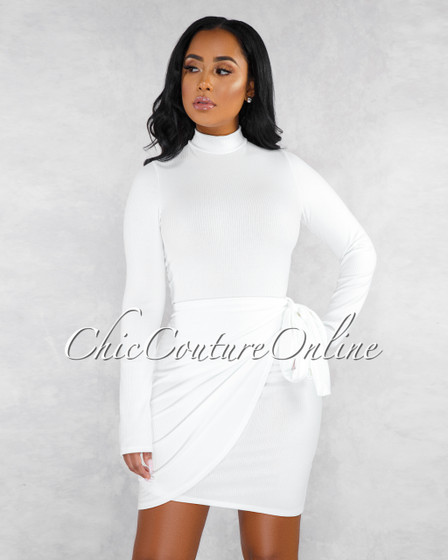 Valentine Off-White Ribbed Overlay Tie Detail Long Sleeved Dress