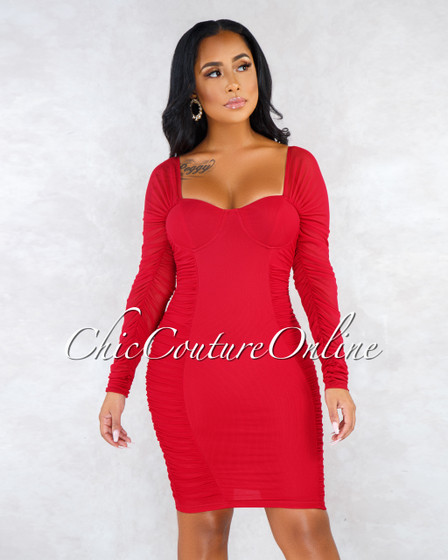 Valerie Red Mesh Ruched Padded Cups Long Sleeves Dress