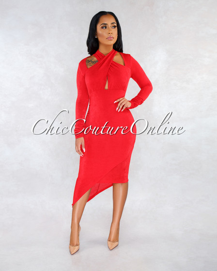 Veveret Red Shimmer Criss-Cross Front Asymmetrical Dress
