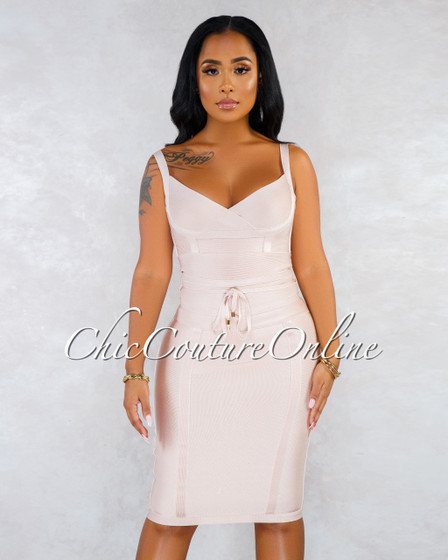 Kimberah Nude Trim Bandage Midi Dress