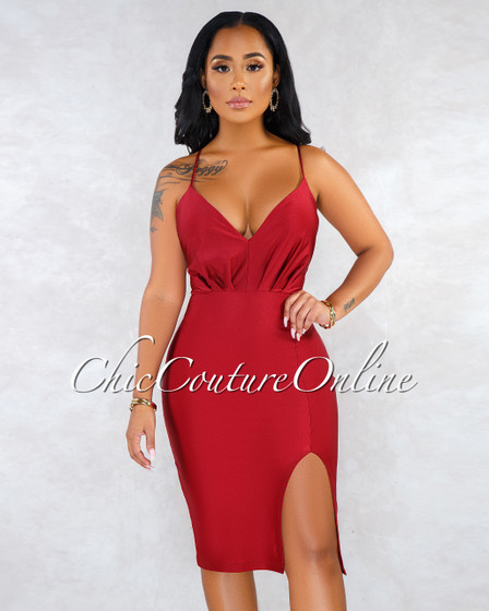 Valda Burgundy V- Neck Side Slit Satin Midi Dress