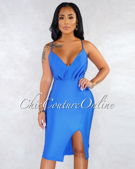 Valda Royal Blue V-Neck Side Slit Satin Midi Dress