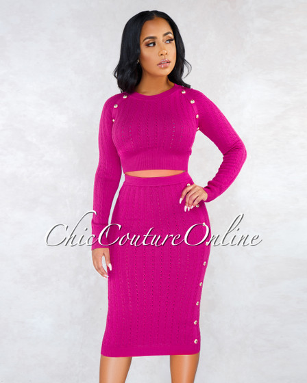 Terese Fuchsia Cable Knit Gold Buttons Midi Skirt Set