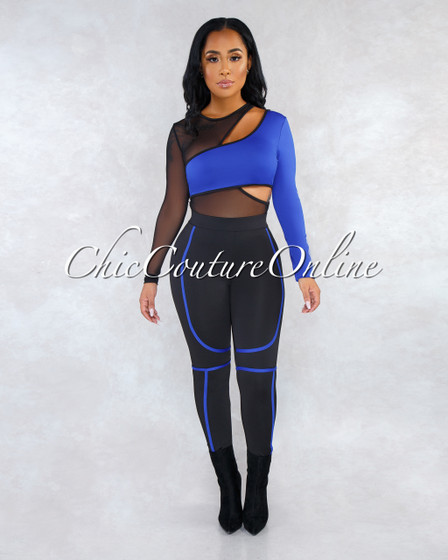 Tadita Royal Blue Black Mesh Overlay Bodysuit Pants Set