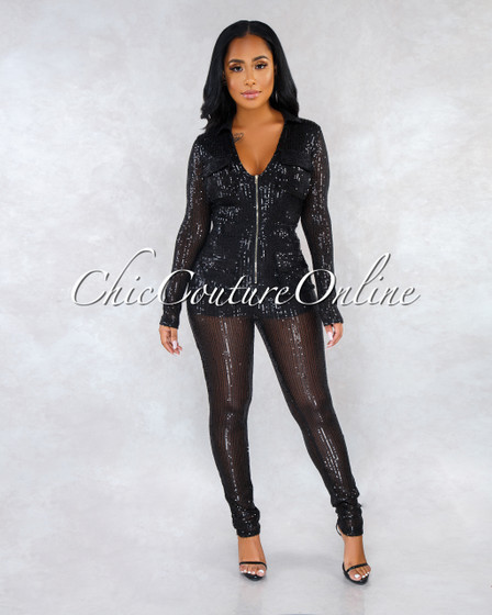 Teagan Black Sequins Front Zipper Jumpsuit