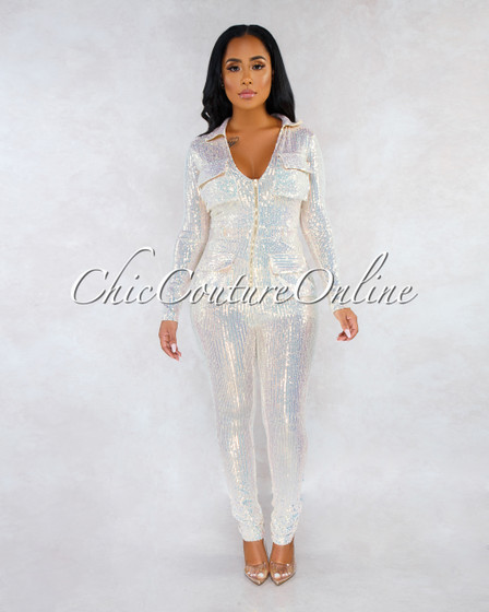 Teagan Nude Iridescent Sequins Front Zipper Jumpsuit