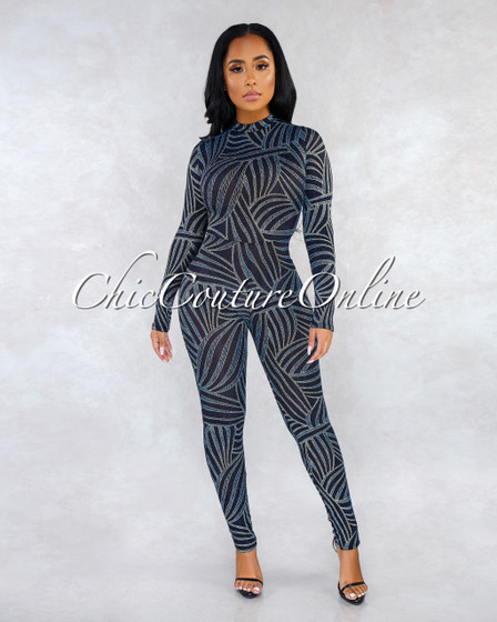 Tanaya Black Gold Blue Shimmer Print Back Key-Hole Jumpsuit