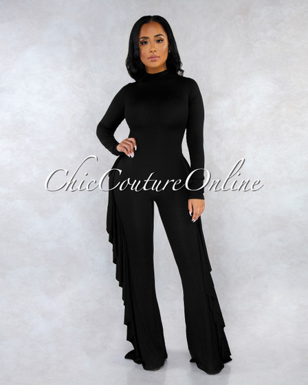 Elias Black Ruffle Sides Ribbed Jumpsuit