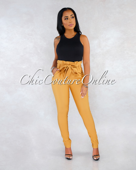 Raeanne Mustard Pleated Paper Bag Tie Belt Pants