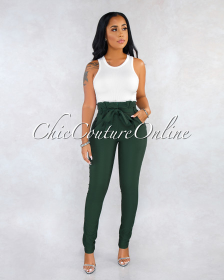 Raeanne Hunter Green Pleated Paper Bag Tie Belt Pants