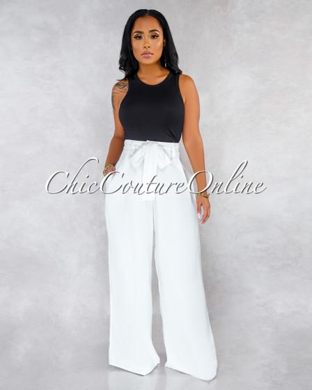 Stassy Off-White High Waist Self-Tie Belt Wide Legs Pants