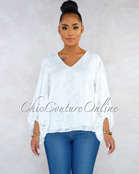 Kalisa Off-White Lace Puffy Long Sleeves Blouse